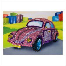 "Мозаика с пайетками и пинсами ""Машинка"""