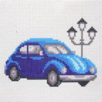"""Канва с рисунком для вышивки крестом """"Синий автомобиль"""" (СК1-017)"""