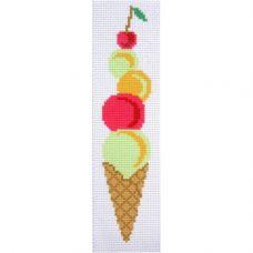 """Канва с рисунком для вышивки крестом """"Закладка для книг """"Мороженое"""""""