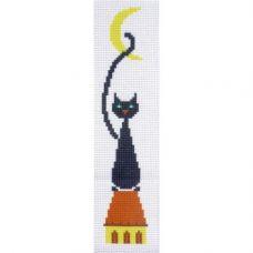 """Канва с рисунком для вышивки крестом """"Закладка для книг """"Черный кот"""""""