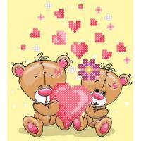 "Схема для вышивки бисером ""Медвежата-Валентинчики"" (B1-46)"