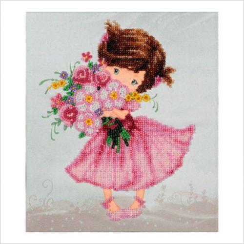 Девочка с букетом схема вышивки